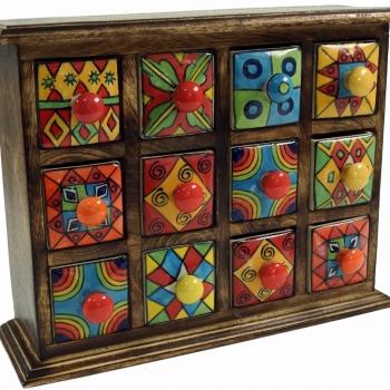 Apothekerschränkchen mit 12 Schubladen aus Keramik