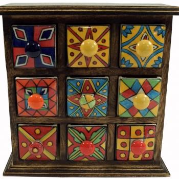 Apothekerschränkchen mit 9 Schubladen aus Keramik