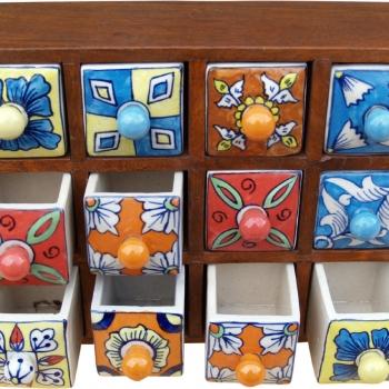 Apothekerschränkchen mit 12 Schubladen aus Keramik kaufen