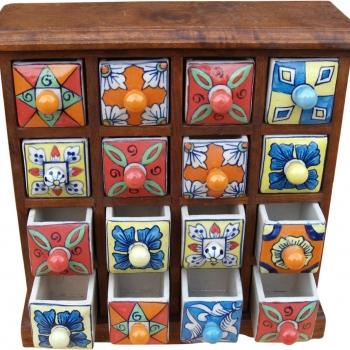 Apothekerschränkchen mit 16 Schubladen aus Keramik kaufen