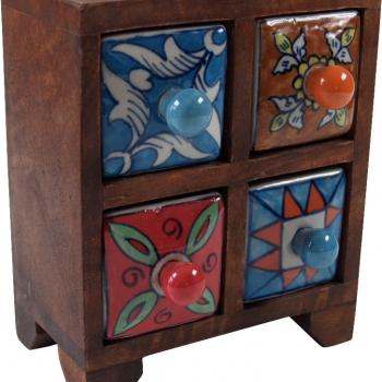 Apothekerschränkchen mit 4 Schubladen aus Keramik kaufen