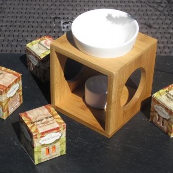 Aromastövchen Bambus mit Duftwürfeln