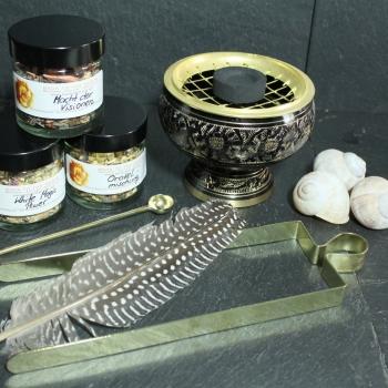 Räucherset mit Räuchergefäß, Zubehör & Räucherwerk