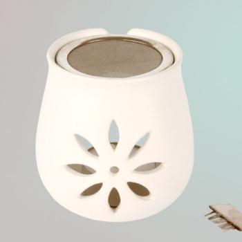 Sieb-Stövchen Blume aus Keramik mit Bürstchen