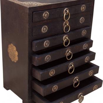 Schmuckkästchen Shisham Messing mit 8 Schubladen