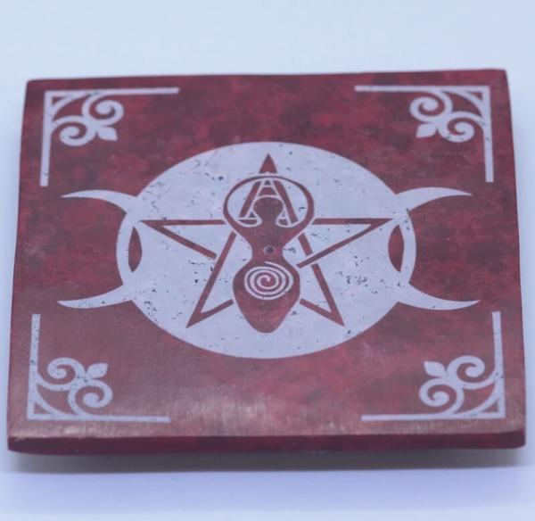 Halter für Räucherstäbchen Erdmutter Göttin rot