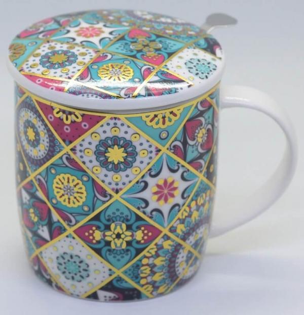 Teetasse mit Sieb & Deckel
